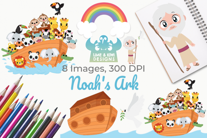 Noahs Ark Clipart, Instant Download Vector Art