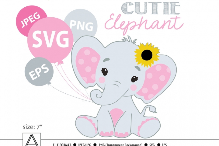 Pink and grey baby elephant with sunflower, svg, png, vector