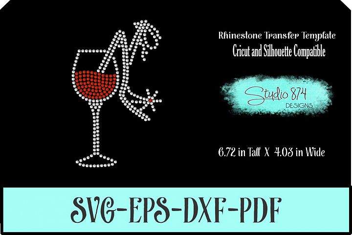 Wine Glass with Shoe Rhinestone SVG Template R2 - Add ON