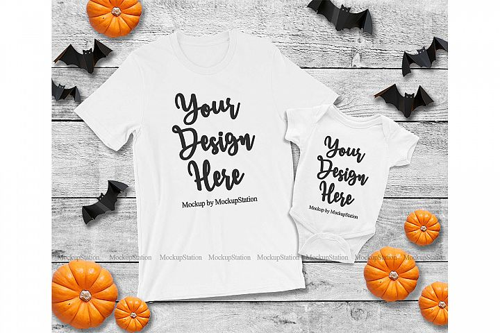 Halloween Mommy and Me Matching Family White Shirts Mockup