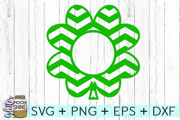 Chevron Shamrock Monogram Frame SVG DXF PNG EPS Cutting Files