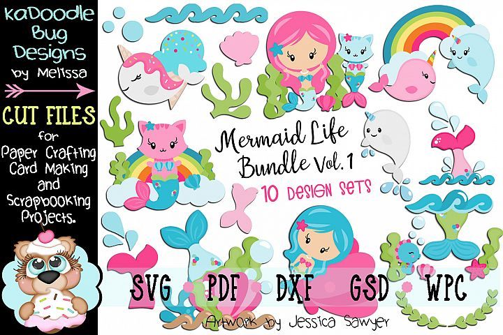 Mermaid Life Bundle Set Vol.1 - 10 Cut File Designs