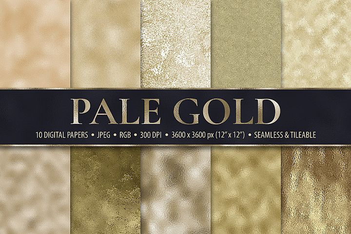 Pale Gold Foil Textures - 10 Seamless Digital Papers