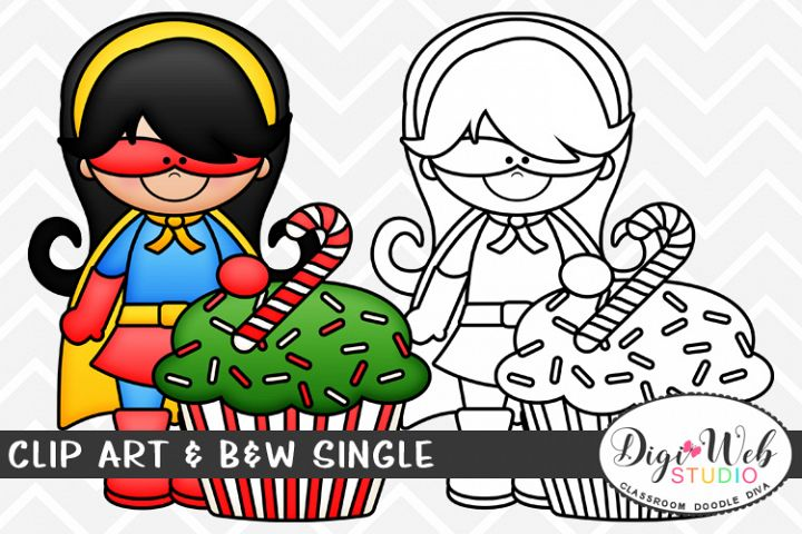 Clip Art & B&W Single - Superhero Girl w/ Christmas Cupcake