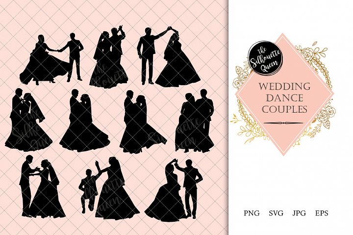 Wedding Dance Silhouette | Couple Dance Vector | Bride and G