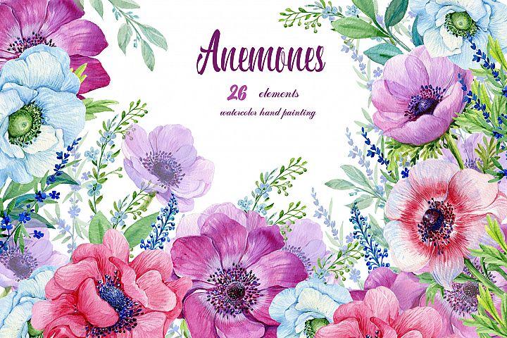 Anemones Watercolor . Flowers Clipart . Purple Flowers. Floral Elements. Flower Backgrounds. Watercolor Clipart.Boho clipart