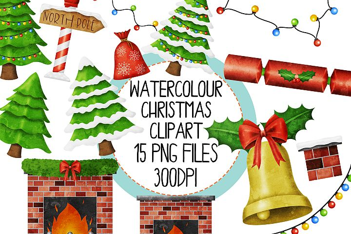 Watercolor Christmas Clipart Set 2