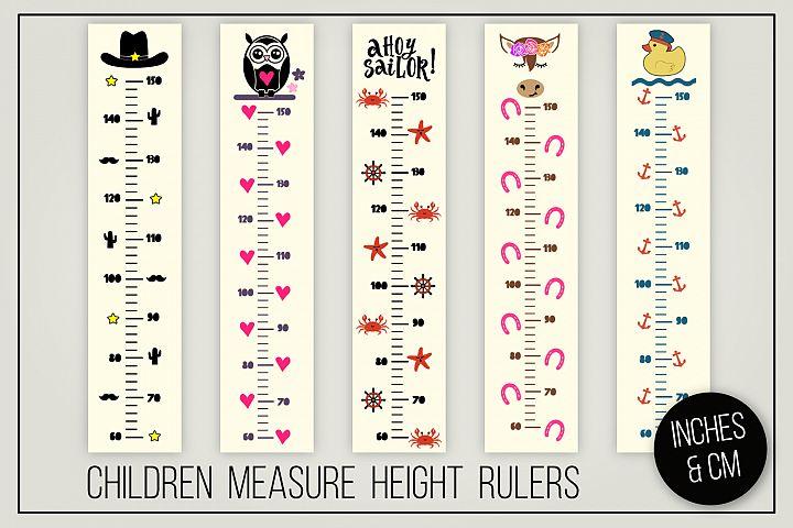 Children measure height rulers