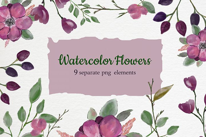 Burgundy Watercolor Flowers and green leaves clipart