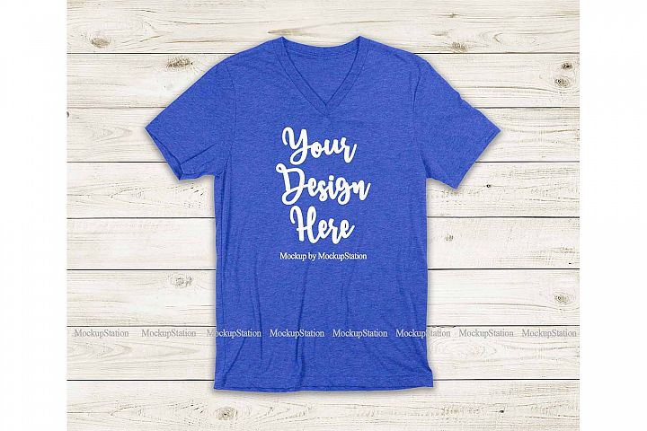 Heather Royal Blue Shirt Mock Up, Bella Canvas 3005 V-Neck