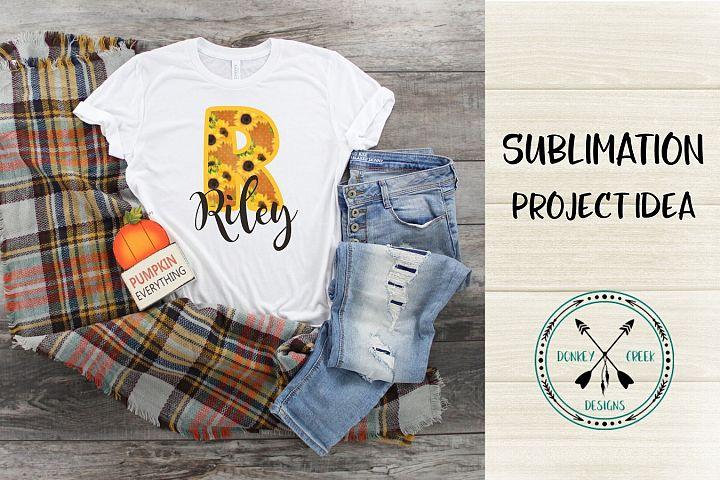 Sunflower pattern PNG Alphabet for Sublimation