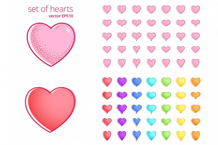 Vector set of hearts with a various shapes and colors.