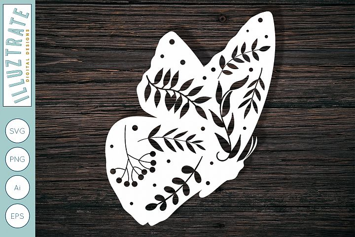 Romantic Butterly SVG Cut File | Floral Butterfly SVG