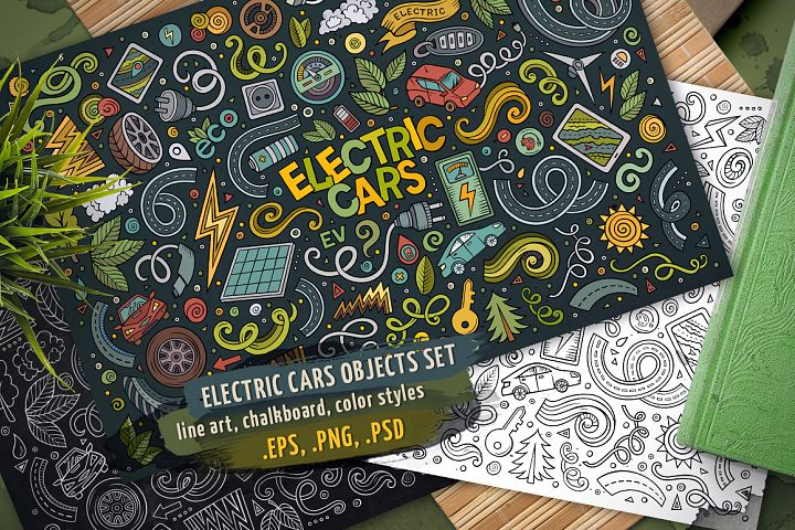 Electric Cars Doodles Cartoon Objects Set