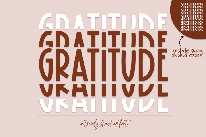 Gratitude - A Fun Stacked Font