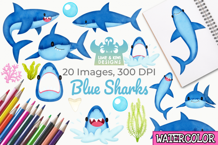 Blue Sharks Watercolor Clipart, Instant Download Vector Art