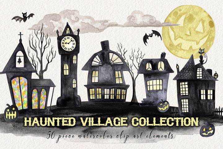 Watercolor Halloween Village Collection