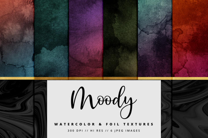 Moody Black and Gold Watercolor Foil Textures | 6 Pack