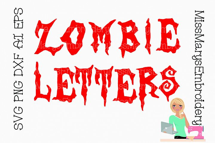 Zombie Letters SVG Cutting File PNG DXF AI EPS