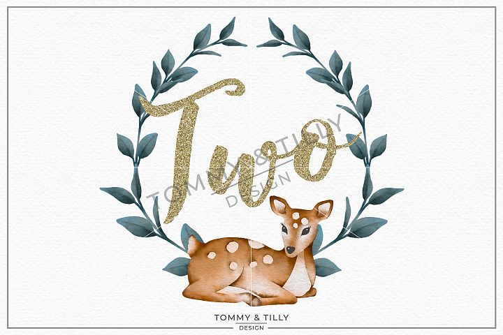 Two Birthday Deer Wreath - Sublimation PNG Clipart