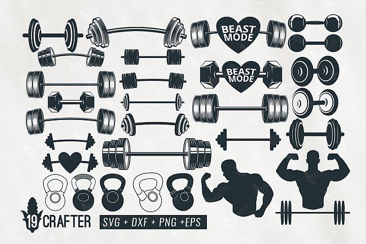 barbell weight lift set gym svg bundle