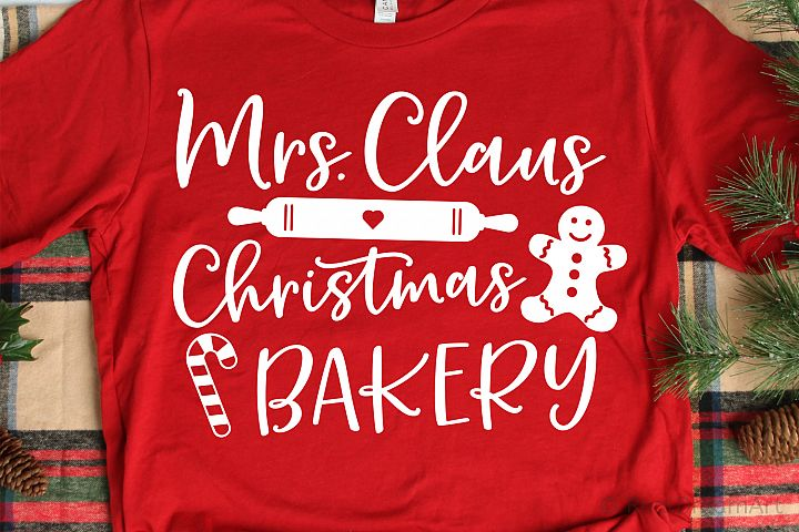 Mrs. Claus Christmas Bakery SVG, DXF, PNG, EPS