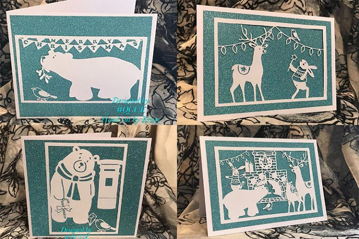 Bird and Bears Xmas Collection x 8 papercutting templates