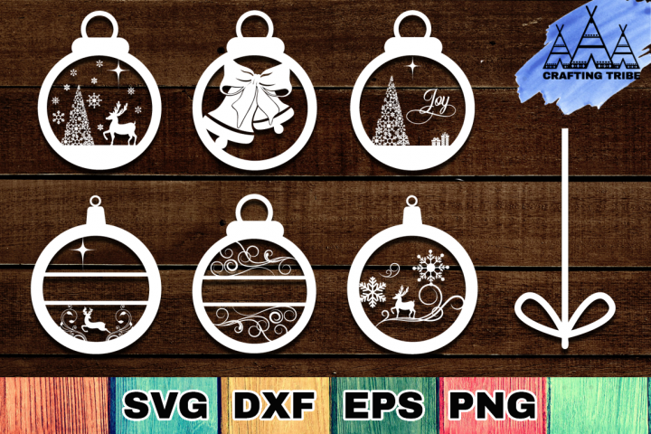Christmas Ornaments SVG Cut Files Pack