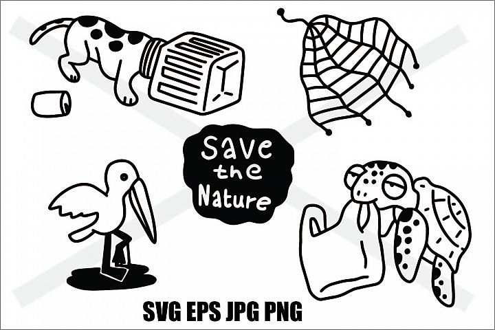 Save The Nature- Thin line and Thick Line - SVG/EPS/JPG/PNG