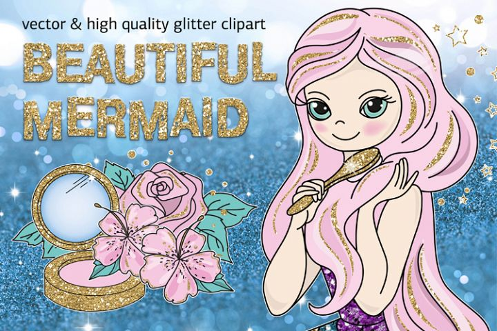 BEAUTIFUL MERMAID Vector Illustration Set