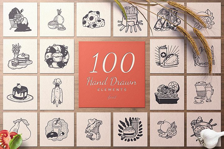 100 Hand Drawn Elements -Food-
