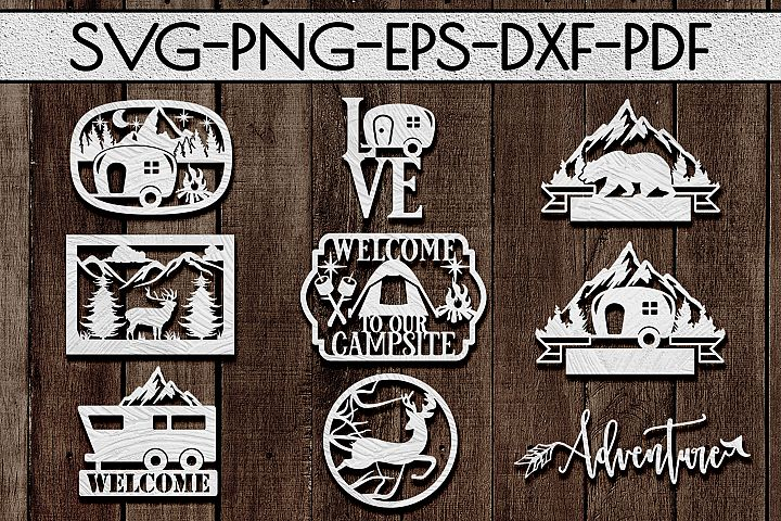 Camping Sign Papercut Templates Bundle, Adventure SVG, DXF