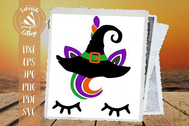 Halloween Witch Hat Unicorn - scary cute trick or treat svg