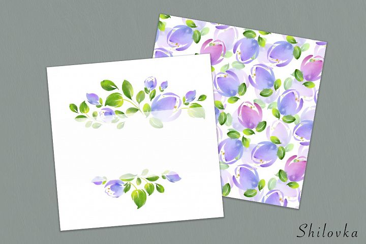 Abstract flowers. Pattern and frame