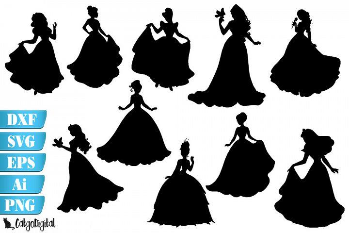Princess Silhouettes Princess Clip Art SVG PNG EPS JPEG
