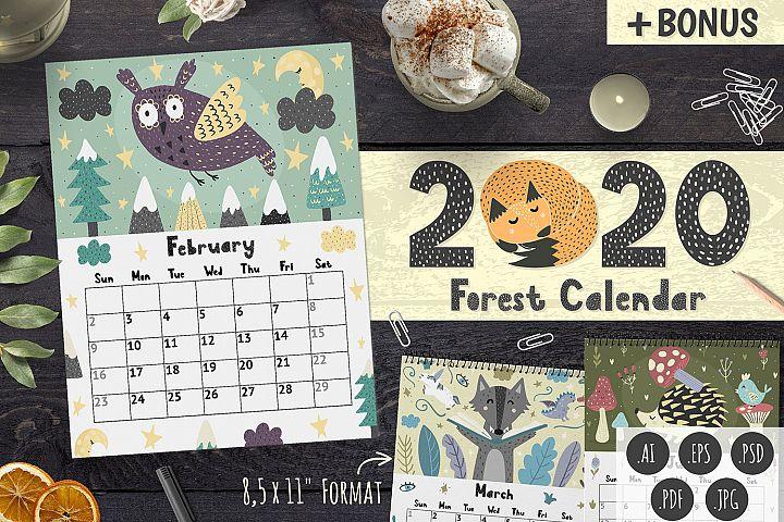 2020 Forest Calendar Template