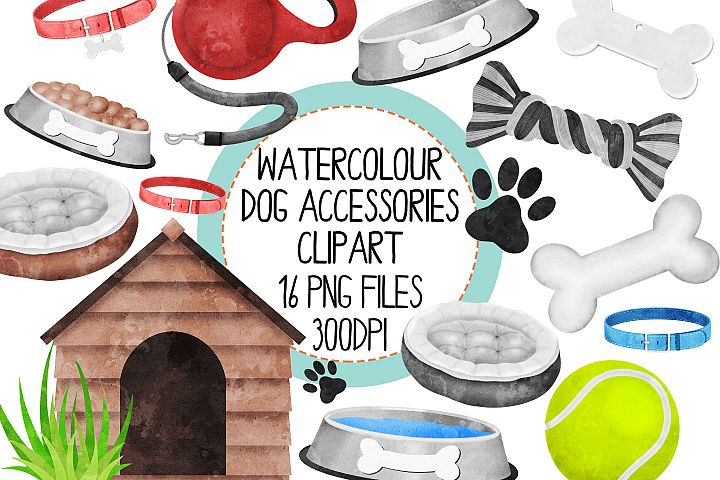 Watercolor Dog AccessoriesClipart Set