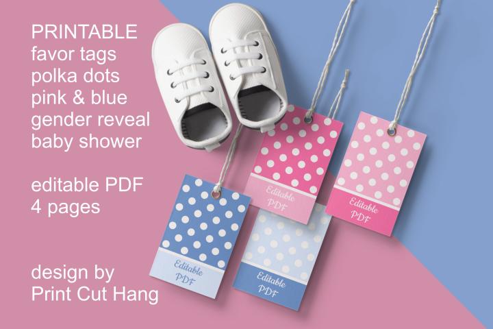 Gender Reveal Baby Shower Favor Tags Set of 4 Editable PDF