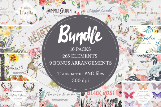 Massive Watercolor Clipart Bundle!!