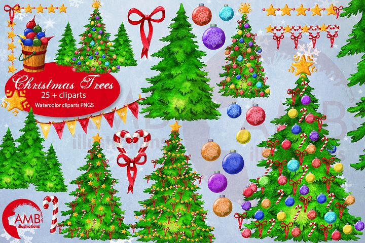 Christmas trees watercolor, Christmas tree clipart AMB-2677