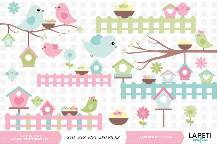 Birds clipart set, 40 instant download birds digital clipart