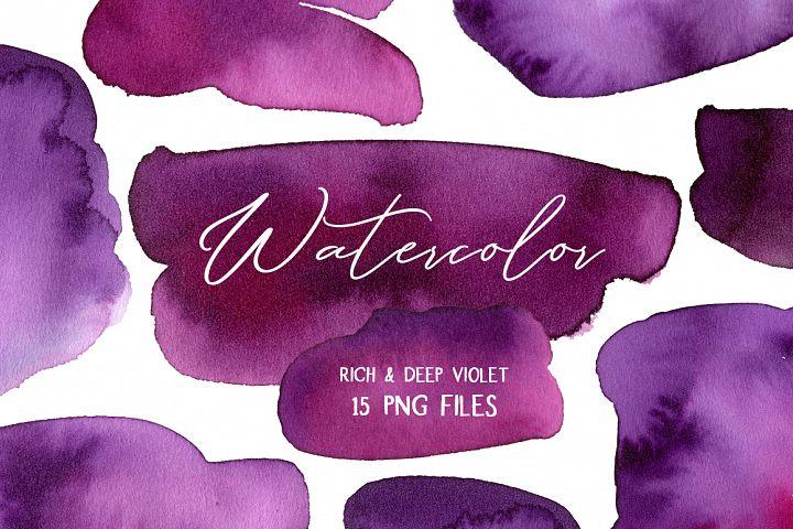 Violet Watercolor Spots Stains Splashes Blots Paint PNG