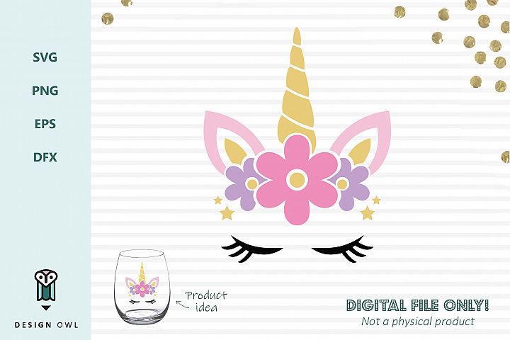 Floral unicorn face - SVG cut file