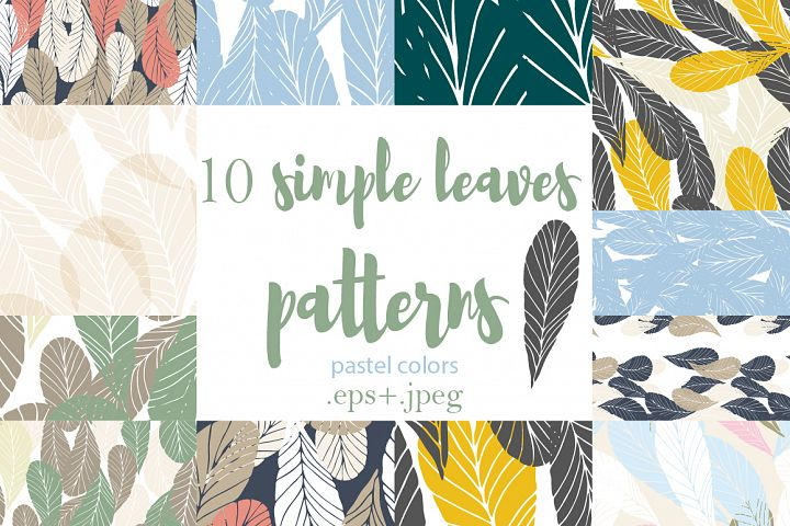 10 Simple Leaves Seamless Patterns in pastel colors