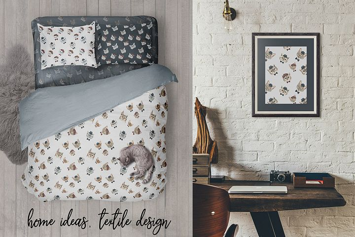Cat watercolor patterns  - Free Design of The Week Design 6