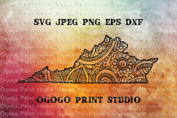 Virginia Map SVG, Zentangle SVG, Mandala svg