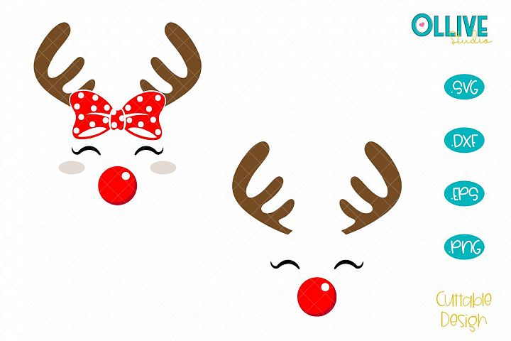 Christmas Reindeer Face Girl and Boy SVG