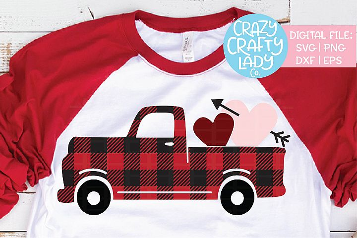 Buffalo Plaid Valentines Truck SVG DXF EPS PNG Cut File