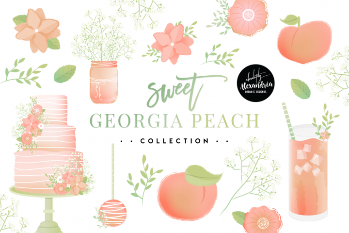 Sweet Georgia Peach Clipart Graphics & Digital Paper Patterns Bundle