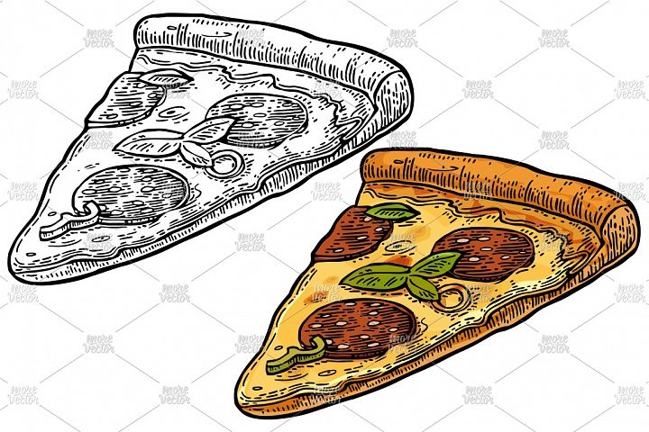 Slice pizza pepperoni. Vintage color vector engraving